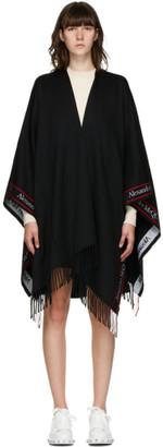 Alexander McQueen Black Wool Cape Scarf