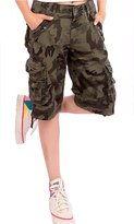 Foxexy Womens Camouflage Casual Loose Fit Multi-Pockets Twill Bermuda Cargo Shorts US 8