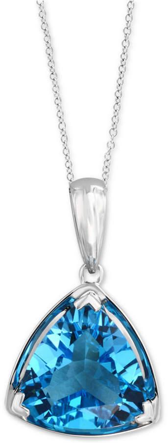 "Effy Blue Topaz Trillion 18"" Pendant Necklace (5-9/10 ct. t.w.) in 14k White Gold"