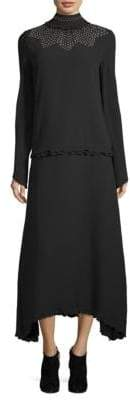 Derek Lam Studded Mockneck Silk Dress
