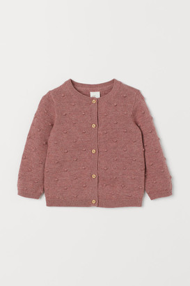 H&M Textured-knit Cardigan - Red