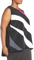 Vince Camuto Glide Panel Sleeveless Mixed Media Shirt (Plus Size)
