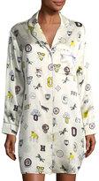 Olivia Von Halle Poppy Crystal Long-Sleeve Silk Sleepshirt