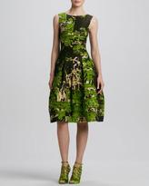 Oscar de la Renta Sleeveless Painted-Toile Dress, Citrine