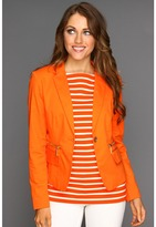 MICHAEL Michael Kors Petite Stretch Twill 1 Button Blazer (Clementine) - Apparel
