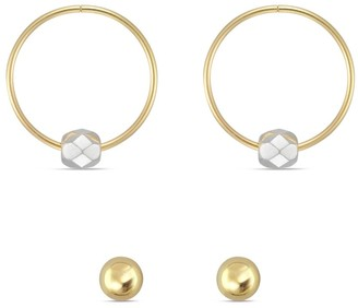 Forever Last 10kt Yellow Gold Earring set -3mm Ball & 13mm Yellow hoop with white mirror bead
