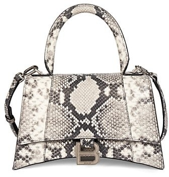 Balenciaga Hourglass Snakeskin-Embossed Leather Top Handle Bag