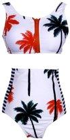 Swimwear,Kwok Women's Women's Coconut Tree Print High Waist Bikini Set Bathing Suit (XL)