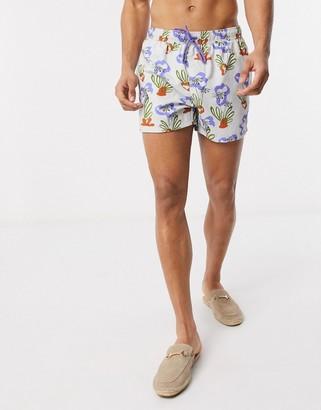 ASOS DESIGN swim shorts in handrawn plant print short length