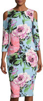 Jax Cold-Shoulder Floral Midi Dress, Multi Pattern