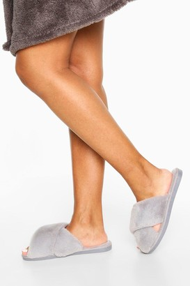 boohoo Cross Front Slippers