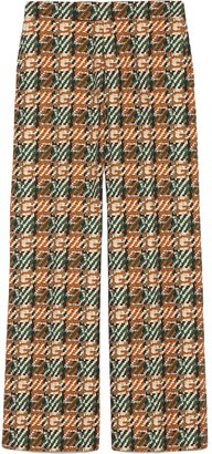 Gucci Cropped Monogram-Print Trousers
