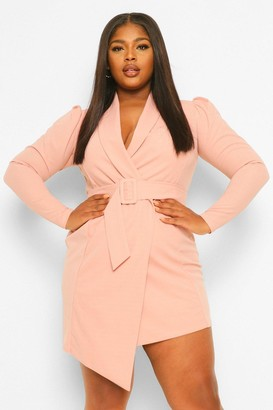 boohoo Plus Belted Blazer Dress