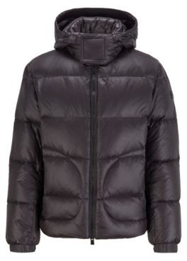 HUGO BOSS Water-repellent down jacket with logo-tape trim