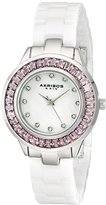 Akribos XXIV Women's AK781WTP Crystal-Accented White Ceramic Bracelet Watch