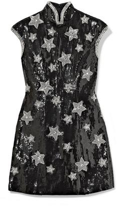 Andrew Gn Embellished Sequined Silk-blend Georgette Mini Dress