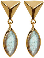 Argentovivo 18K Gold Plated Sterling Silver Pyramid Stud Drop Marquee Shape Labradorite Earrings