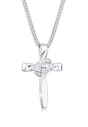 Elli 925 Sterling Silver Cross Pendant with Swarovski Crystals 0112292713_45