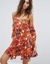 boohoo Floral Cold Shoulder Skater Dress