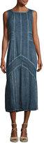 XCVI Long Paneled Denim Tank Dress, Blue, Plus Size