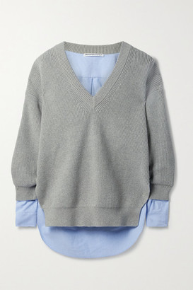 alexanderwang.t Layered Ribbed Cotton-blend And Cotton Oxford Sweater - Gray