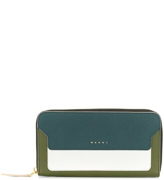 Marni Saffiano rectangular zip-around wallet