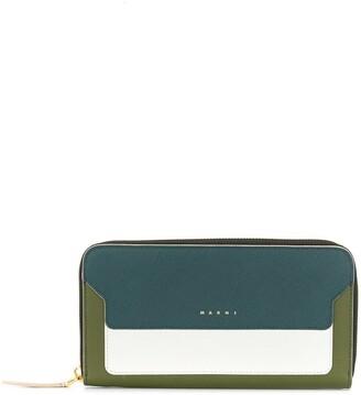 Marni Saffiano rectangular zip-around wallet