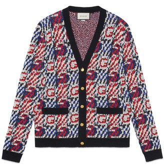 Gucci G cotton linen jacquard cardigan
