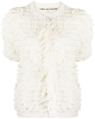 1990s Ruffled Buttoned Blouse
