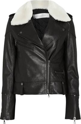 Victoria Victoria Beckham Shearling Collar Leather Biker Jacket