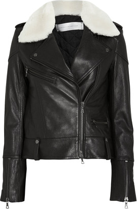 Victoria Victoria Beckham Victoria, Victoria Beckham Shearling Collar Leather Biker Jacket
