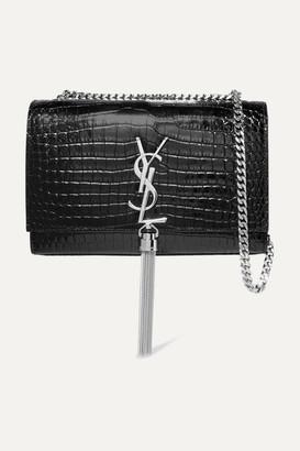 Saint Laurent Kate Croc-effect Leather Shoulder Bag - Black