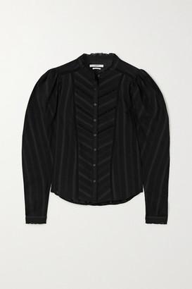 Etoile Isabel Marant Reafi Crochet-trimmed Cotton-voile Blouse - Black