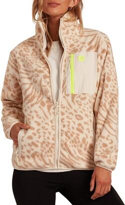 Billabong Switchback Animal Print Zip-Up Fleece Jacket