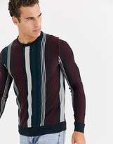 Brave Soul pattern crew neck knitted jumper