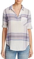 Side Stitch Plaid Three-Quarter Roll Sleeve Shirt