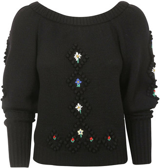 Philosophy di Lorenzo Serafini Floral Embroidered Cropped Top