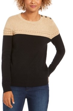 Charter Club Metallic Colorblocked Crewneck Sweater, Created for Macy's