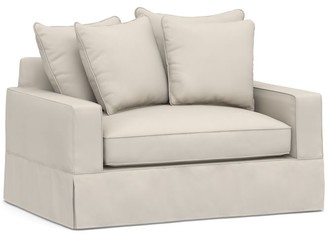 Pottery Barn PB Comfort Square Arm Slipcovered Twin Sleeper Sofa with Memory Foam Mattress