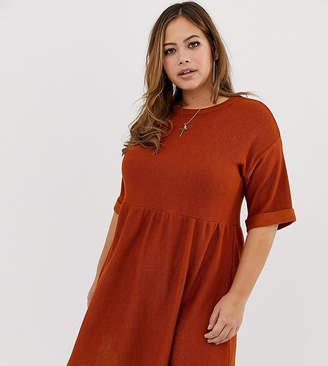 Asos DESIGN Curve jersey knit mini smock dress-Orange