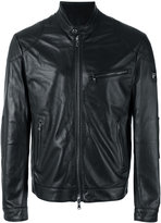 Hackett banded collar leather jacket - men - Lamb Skin/Polyester - M