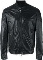 Hackett banded collar leather jacket