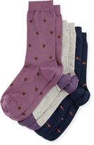Neiman Marcus Three-Pair Wardrobe Sock Set, Assorted Navy/Purple