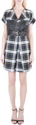 McQ Tartan Wool Leather Corset Belt Dress M