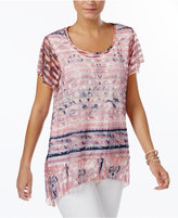 Style&Co. Style & Co Sheer Handkerchief-Hem Top, Only at Macy's