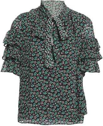 Rebecca Taylor Louisa Pussy-bow Floral-print Silk-blend Fil Coupe Top