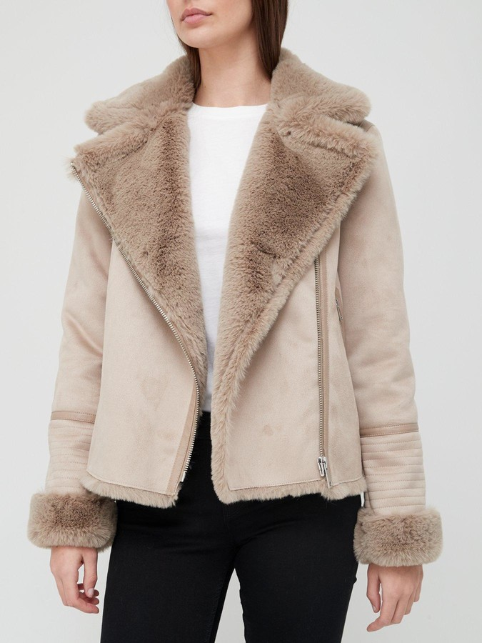 Very Luxe Faux Shearling Aviator Jacket - Mink