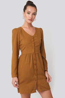 BEIGE Trendyol Button Detailed Mini Dress
