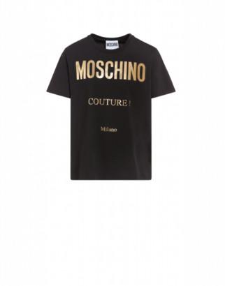 Moschino Jersey T-shirt With Laminated Logo Man Black Size 44 It - (34 Us)
