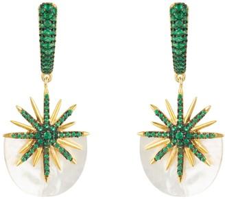 Mother of Pearl Latelita Sunburst White Earrings Emerald Green Gold